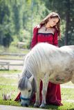 Brunette girl and horse Royalty Free Stock Photos