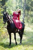 Brunette girl on horse Royalty Free Stock Image