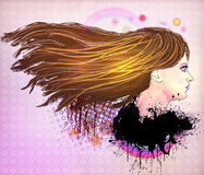 Brunette girl illustration Stock Photography