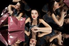 Brunette girl kaleidoscope mirror Royalty Free Stock Images