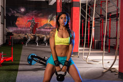 Brunette Girl Kettlebell Swing Weightlifting Stock Photo