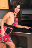 Brunette Girl Kitchen Royalty Free Stock Photography