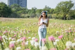 Brunette girl listen music in park. Portrait of beautiful relax Asian woman listen online music and chat on smartphone and walk at pink flowers garden in morning Stock Images