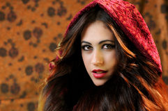 Brunette girl Little Red Riding Hood Royalty Free Stock Photography