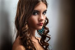 Brunette girl with long hair and creative makeup Stock Images
