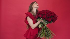 Brunette girl with long hair in red blouse turning flowers. Young pretty lady holding huge bouquet of red roses. Brunette girl with long hair in red blouse stock video