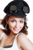 Brunette girl in a military ca Stock Photography