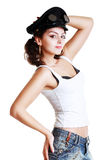 Brunette girl in a military cap. And steampunk googles stock images
