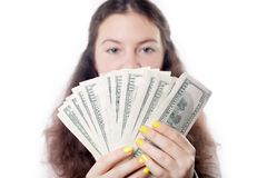 Brunette girl with money  Royalty Free Stock Image