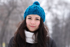 Brunette girl outdoors in winter Royalty Free Stock Photo