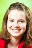 Brunette girl over green Royalty Free Stock Photo