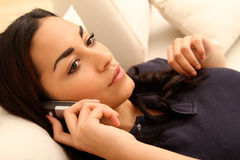 Brunette Girl on the phone Stock Photos