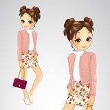 Brunette Girl In Pink Jacket. Vector illustration of girl in a pink jacket and a skirt with flowers Stock Image