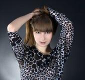 Brunette girl posing in studio Royalty Free Stock Photos