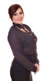Brunette girl posing on white Stock Photography
