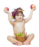 Brunette girl with pottle of fruit Stock Photos