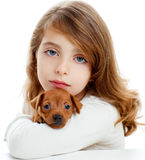 Brunette girl with puppy dog mini pinscher Royalty Free Stock Photo