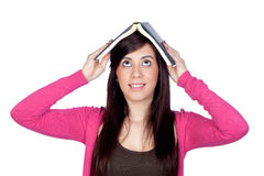 Brunette girl with a reader Royalty Free Stock Images