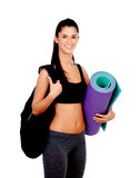 Brunette girl ready for the gym Royalty Free Stock Photo