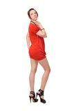 Brunette girl in red royalty free stock photo
