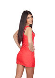 Brunette girl with a red dress Royalty Free Stock Photography