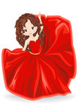 Brunette girl in red evening dress Stock Photography