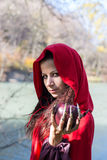 Brunette girl in a red raincoat Stock Images