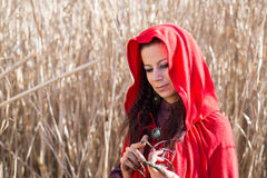 Brunette girl in a red raincoat Royalty Free Stock Photos