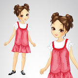 Brunette Girl In Red Sarafan Stock Image