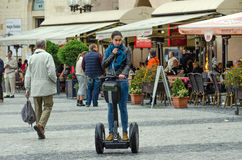 Brunette girl on the Segway Royalty Free Stock Photography