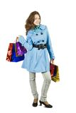 Brunette  girl with shopping bags Stock Image