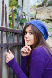 Brunette girl showing silence sign Royalty Free Stock Photography