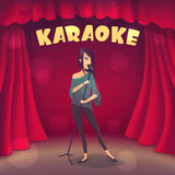 Brunette girl singing Karaoke on the scene. Cartoon style Royalty Free Stock Images