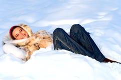 Brunette girl in snow royalty free stock photo