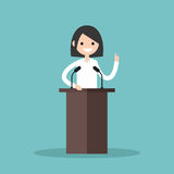 Brunette girl standing behind the tribune and pointing her finger. Up / flat   illustration Royalty Free Stock Images