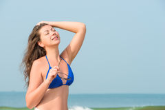 Brunette girl sunbathing Royalty Free Stock Photo