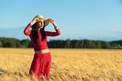 Brunette girl in Swedish wheat field Stock Photos