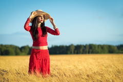 Brunette girl in Swedish wheat field scenery Royalty Free Stock Photos