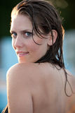 Brunette girl in swimming pool Royalty Free Stock Photos