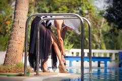 Brunette girl in swimming suit Royalty Free Stock Photography