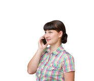 Brunette girl talking on mobile phone  Royalty Free Stock Photo