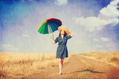 Brunette girl with umbrella Royalty Free Stock Photos