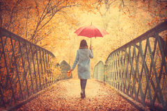 Brunette girl with umbrella. Young beautiful brunette girl in blue coat with umbrella walking in the autumn park Stock Photo