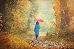 Brunette girl with umbrella Royalty Free Stock Photography