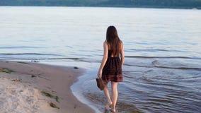 The brunette girl walks along the water along the shore. stock video