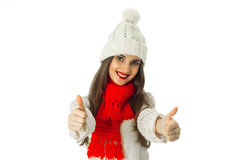 Brunette girl in warm sweater and red scarf Royalty Free Stock Image
