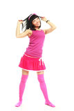 Brunette girl wearing pink clothes Stock Photos