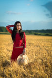 Brunette girl in the wheat field Stock Image