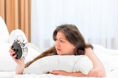 Brunette girl woke up in the morning Stock Photos