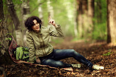 Brunette girl in the woods Royalty Free Stock Photos